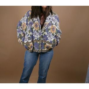 Vintage Floral Purple Knitted Cotton Jacket One Size
